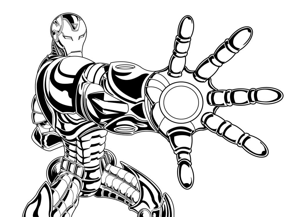 Útiles dibujos para colorear – Iron Man, para chiquitines creativos
