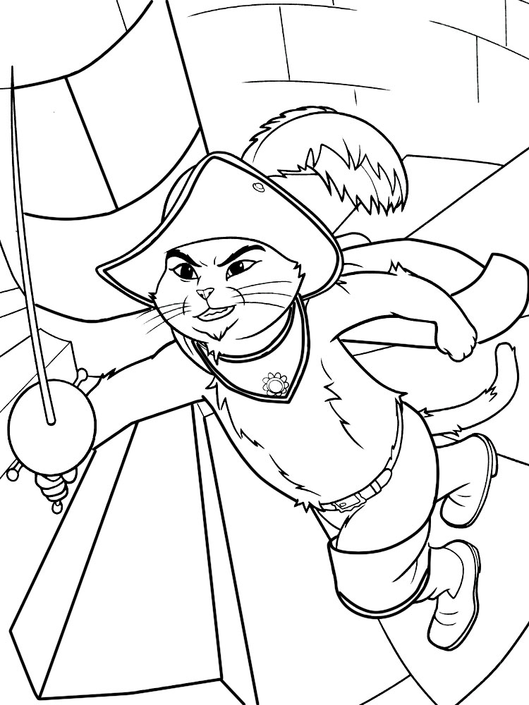 El Gato Con Botas Dibujos Infantiles Para Colorear