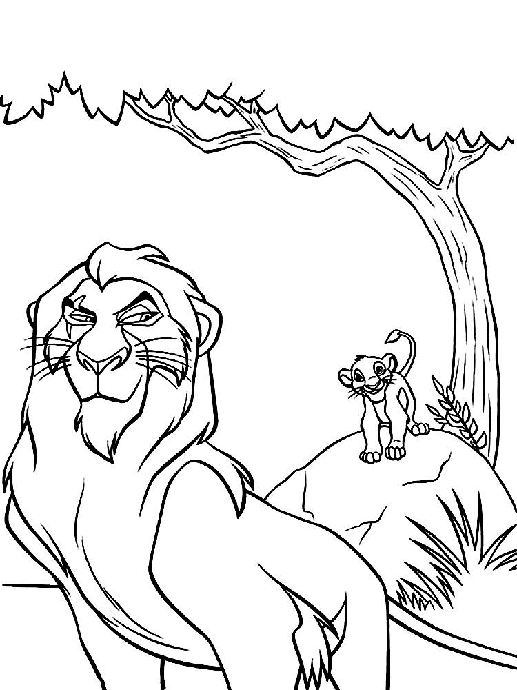 Dibujos para colorear – El rey leon, para niños