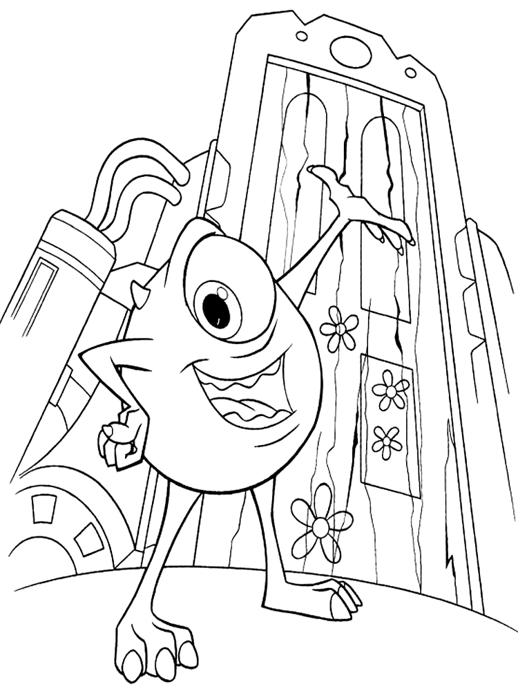Dibujos animados para colorear – monsters Inc, para niños pequeños.