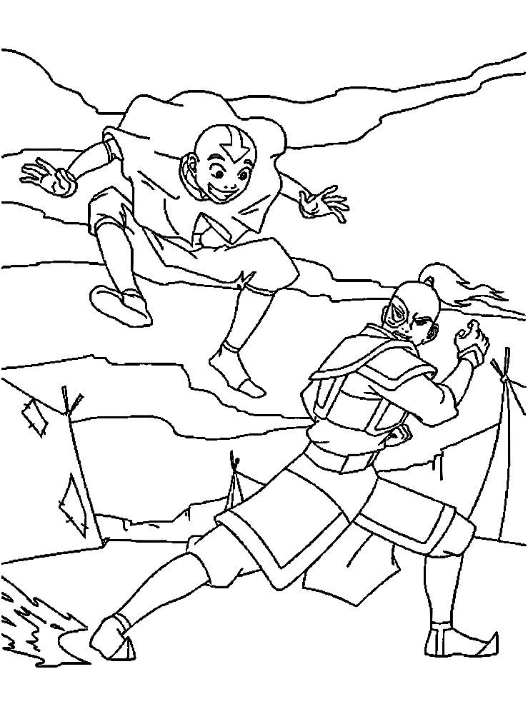 Avatar: la leyenda de Aang – dibujos infantiles para colorear