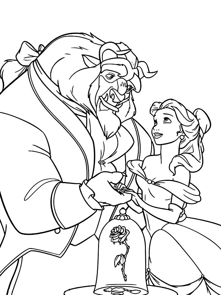 Descargamos dibujos para colorear – La Bella y la Bestia.