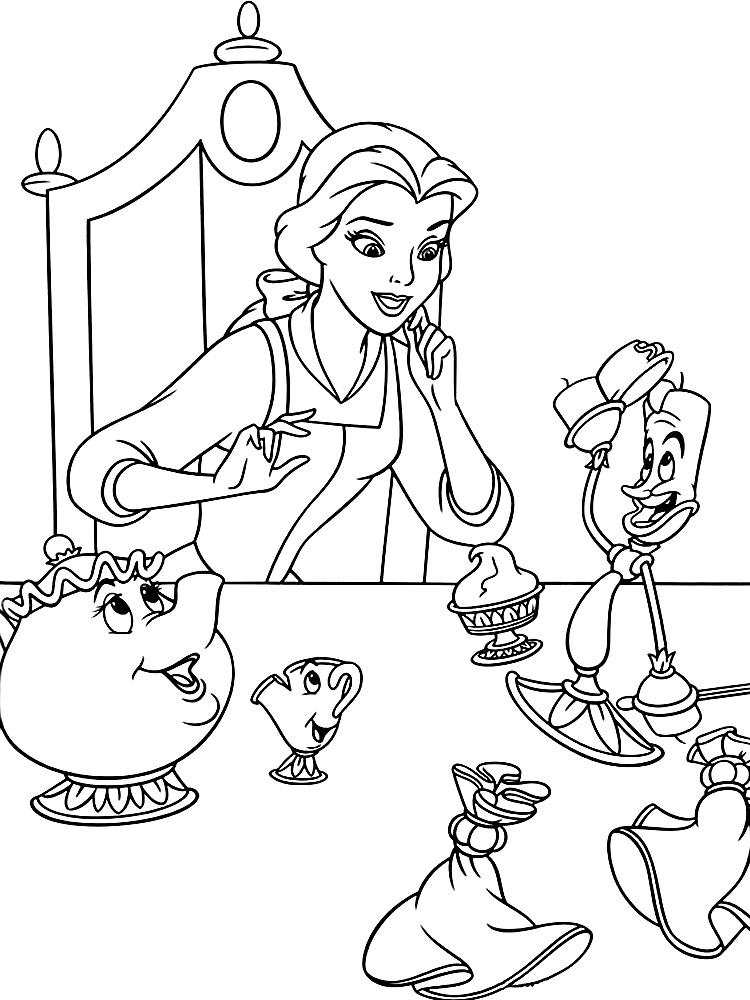 Descargar gratis dibujos para colorear – La Bella y la Bestia.