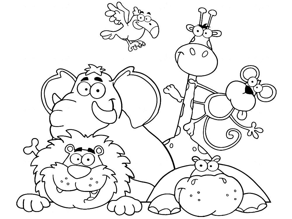 Dibujos animados para colorear – animales africanos, para niños ...