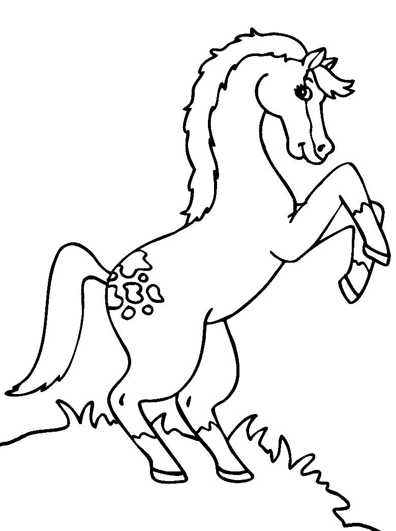 Caballo – dibujos animados infantiles, para colorear