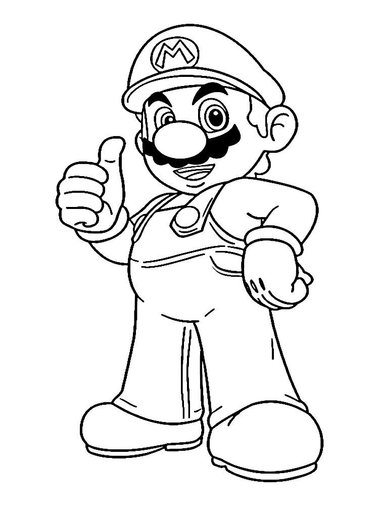 Dibujos animados para colorear – Mario, para niños pequeños.