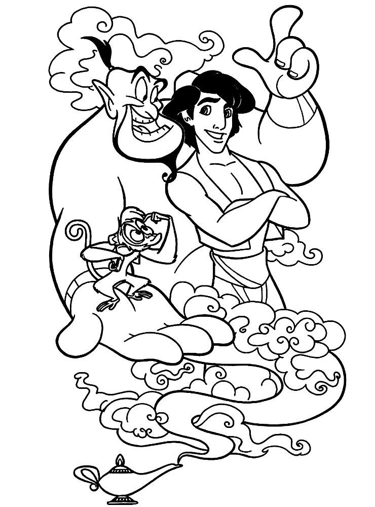 Dibujos para colorear – Aladdin, imprimir gratis