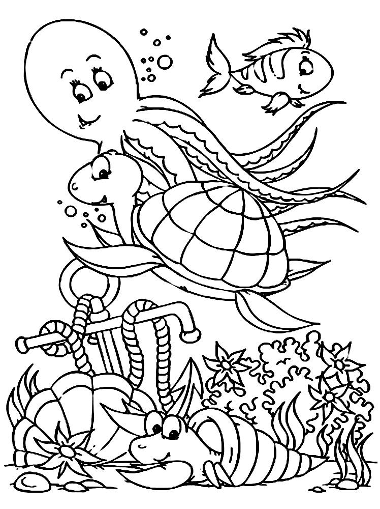 Dibujos para colorear – vida marina, imprimir gratis