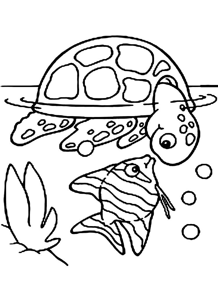 Dibujos animados para colorear – vida marina, para niños pequeños.