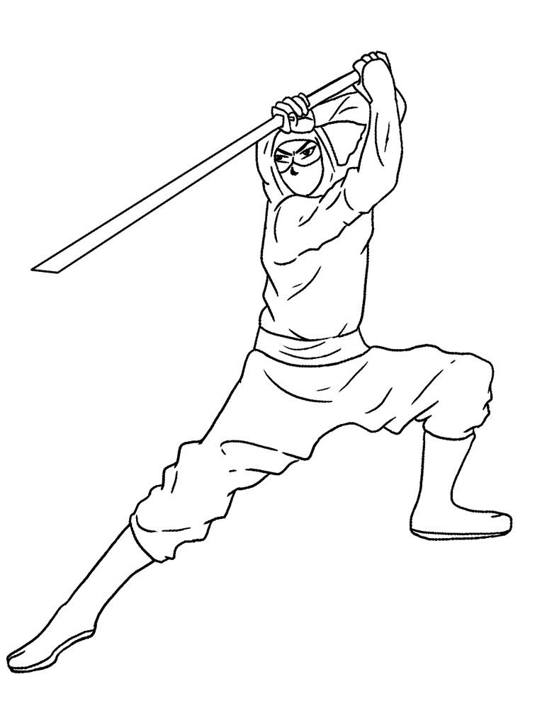 Ninja – dibujos animados infantiles, para colorear