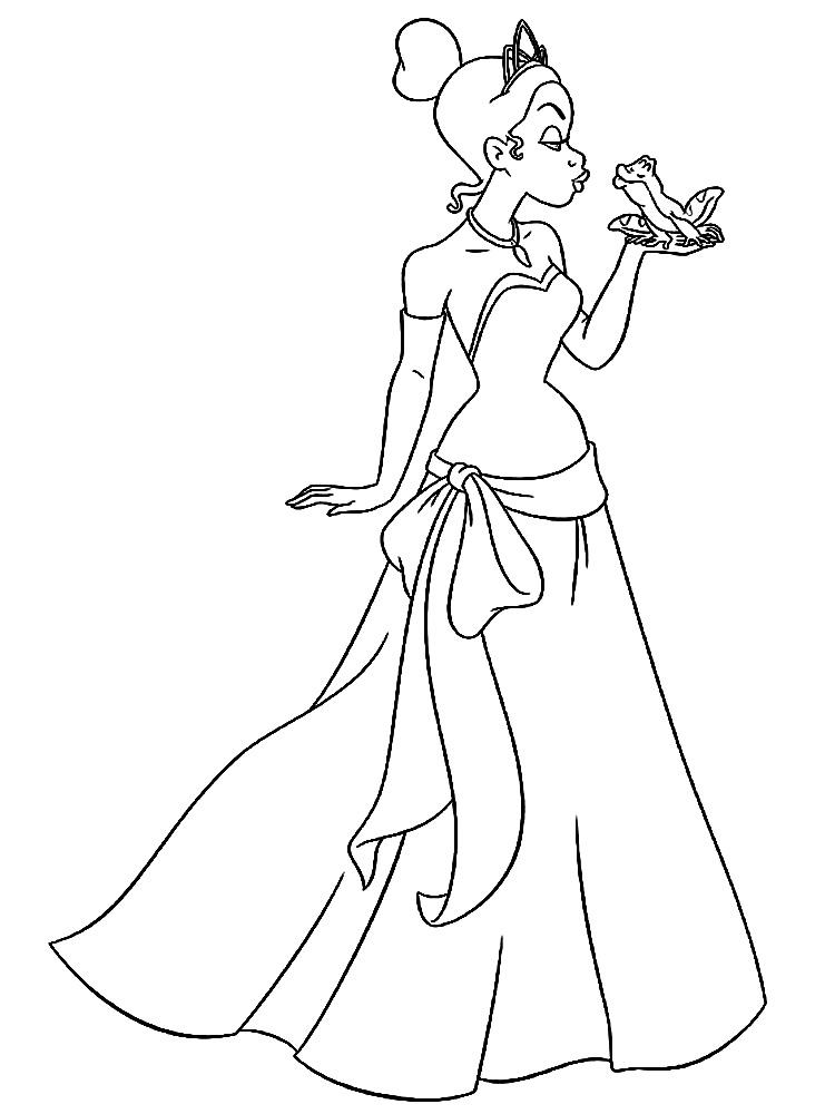 Dibujos animados para colorear – la princesa y el sapo, para niños ...