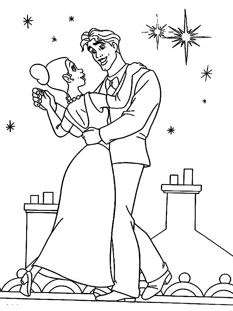 Dibujos para colorear - la princesa y el sapo.
