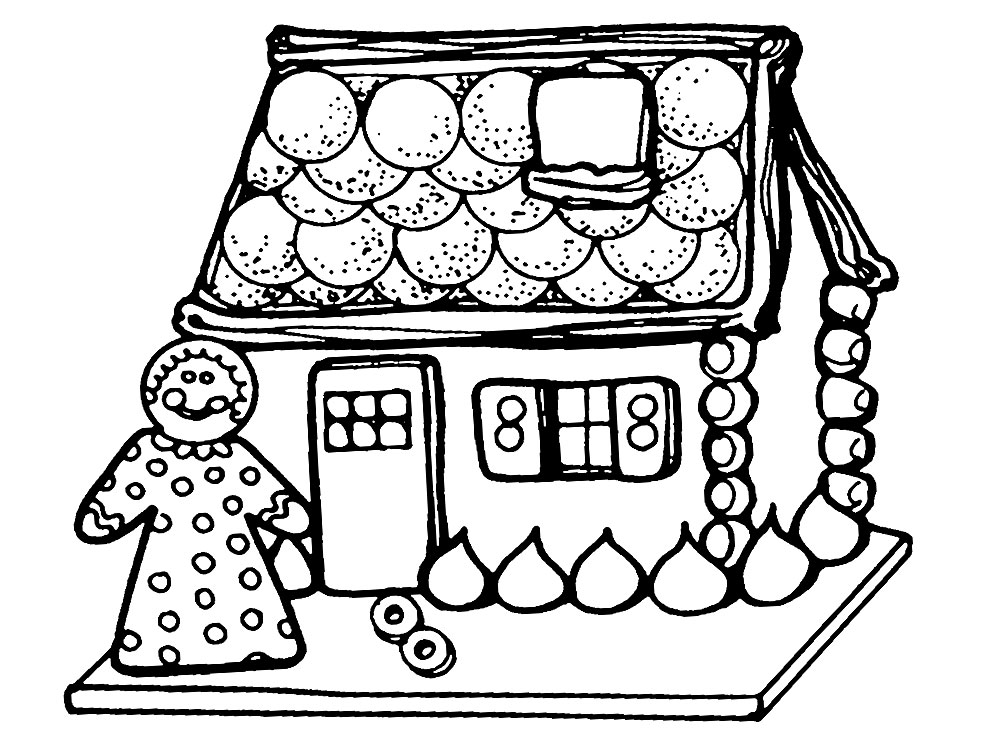 Descargamos dibujos para colorear - gingerbread House