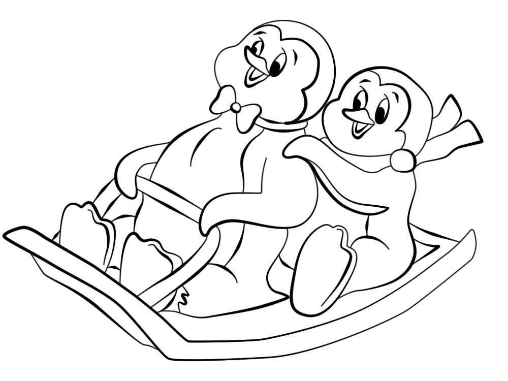 Imprimir imágenes dibujos para colorear – pinguinos, para niños y niñas