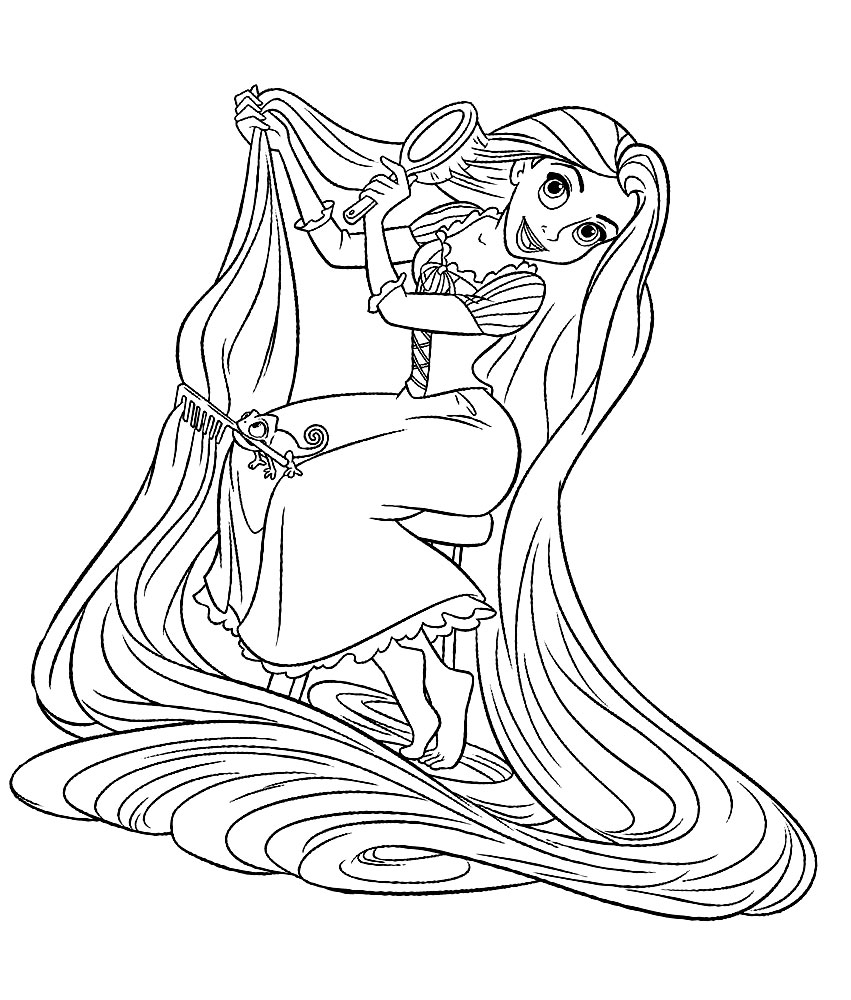 Dibujos animados para colorear – Rapunzel, para niños pequeños.