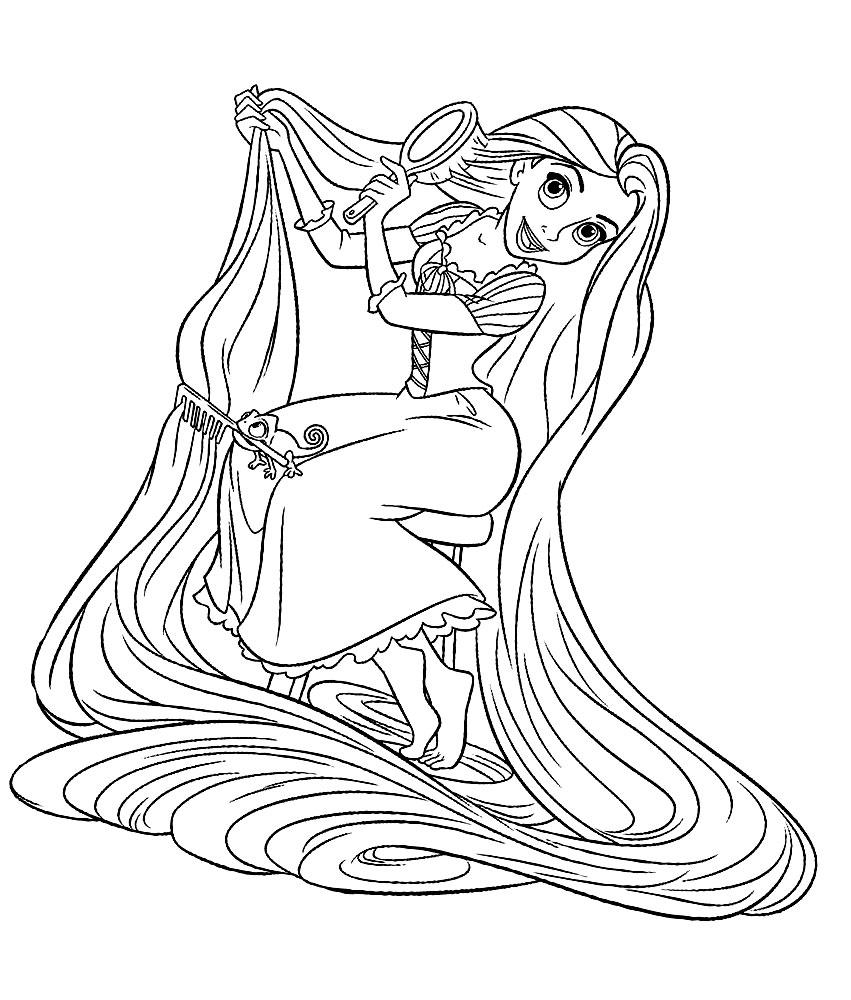 Dibujos animados para colorear  Rapunzel para nios pequeos