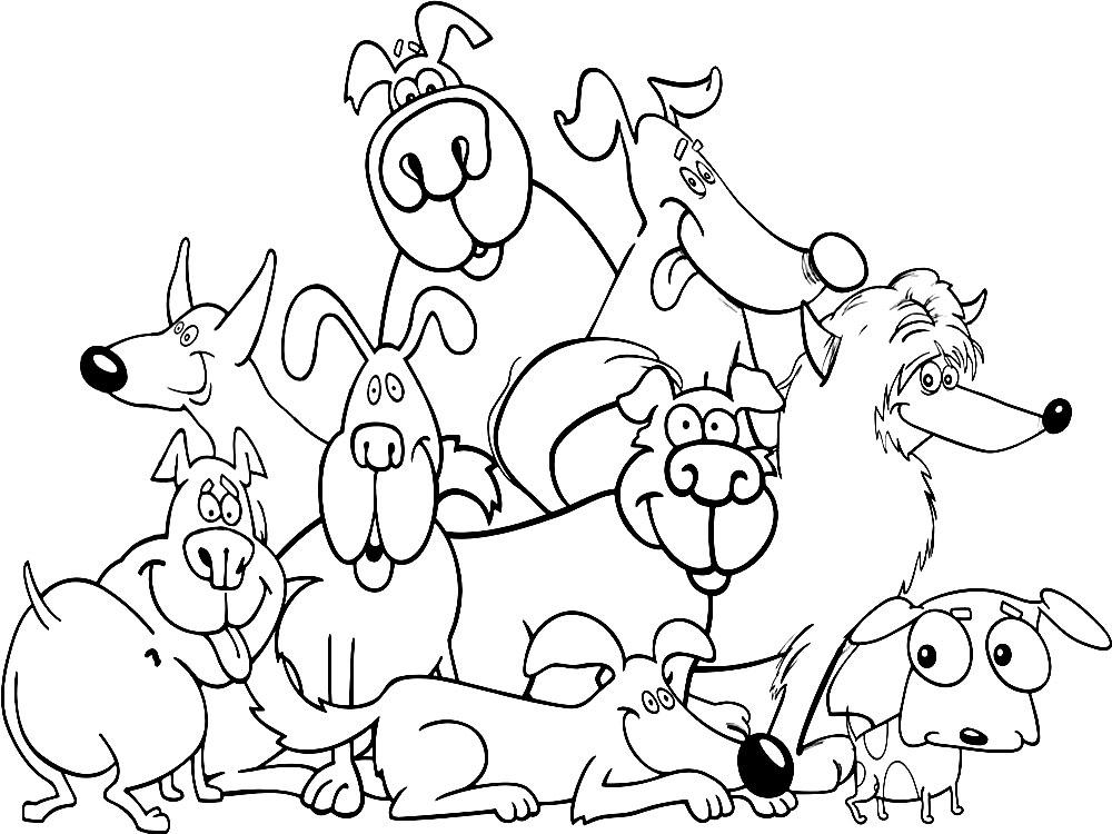 Dibujos infantiles para colorear – perros, para desarrollar ...