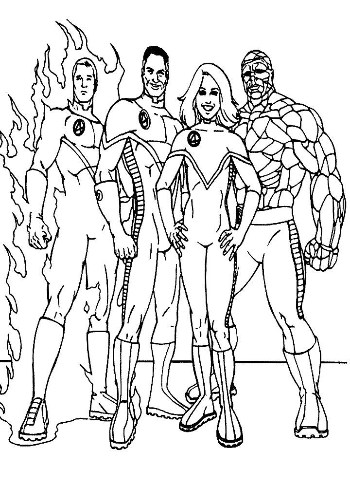 Dibujos para colorear – los 4 Fantásticos, imprimir gratis