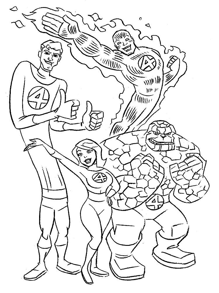 Los 4 Fantásticos – descargar gratis dibujos para colorear.