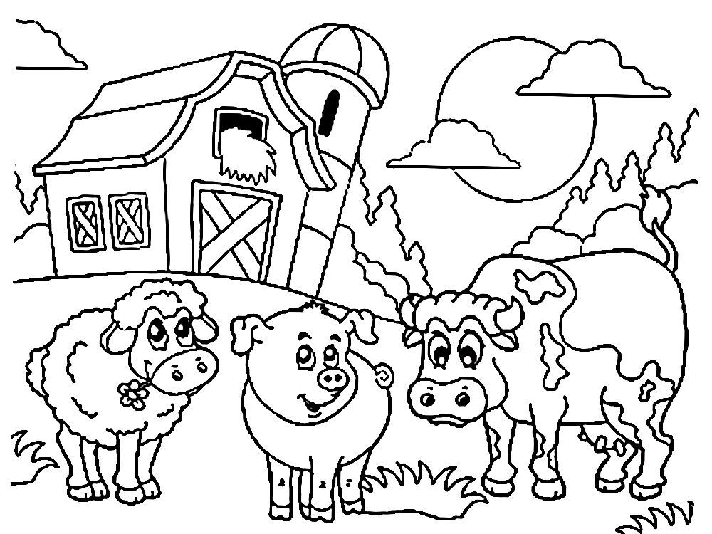 Imprimir dibujos para colorear – granja, para niños y niñas
