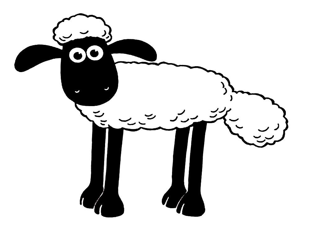 Imprimir dibujos para colorear – oveja Shaun, para niños y niñas