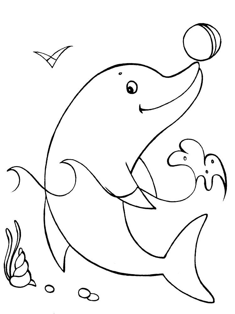 Descargamos dibujos para colorear  delfines