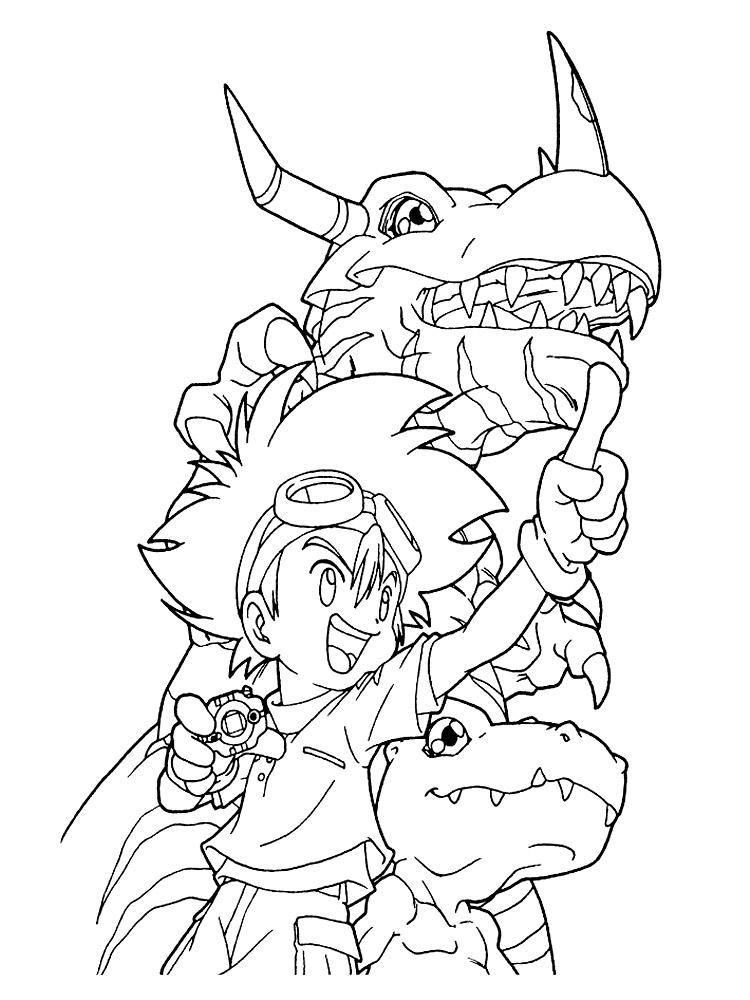 Dibujos animados para colorear – Digimon, para niños pequeños.