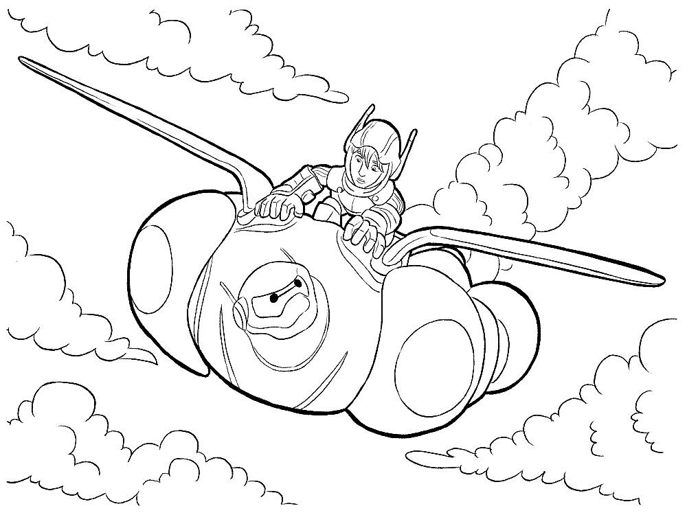 Dibujos animados para colorear – Big Hero 6, para niños pequeños.