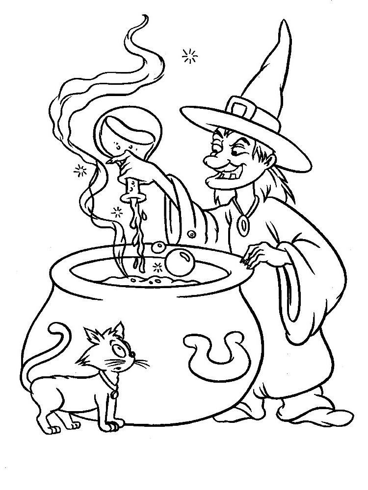 Algo útil para niñas y niños – dibujos para colorear – bruja