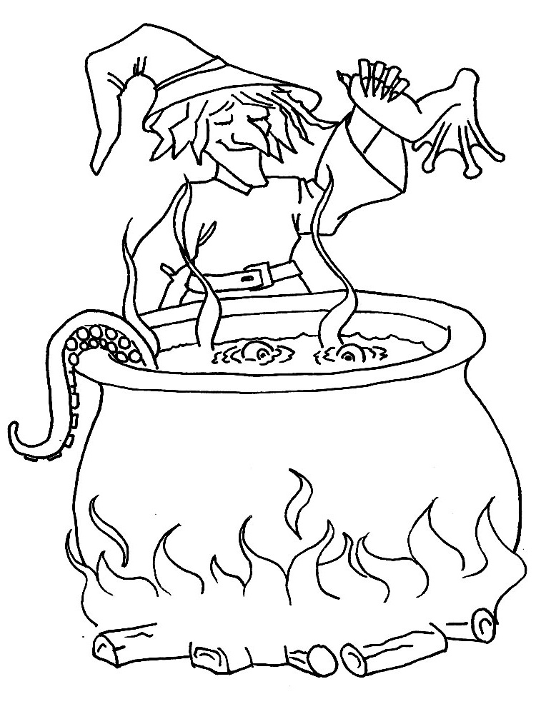 Dibujos para colorear – bruja, para niños