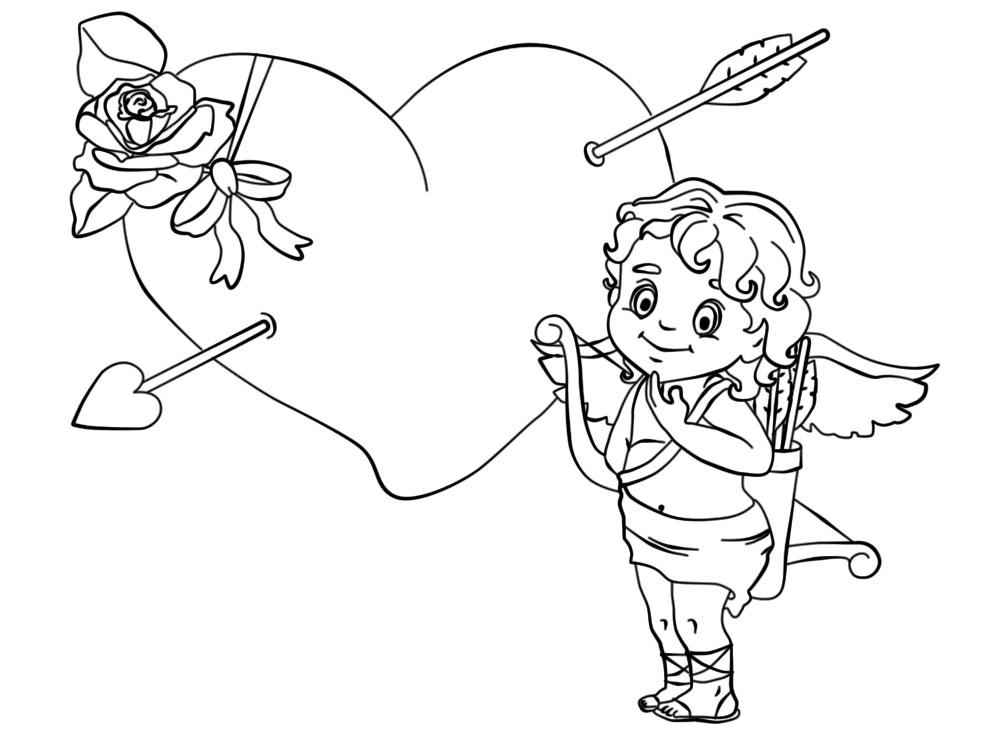 Útiles dibujos para colorear – cupido, para chiquitines creativos