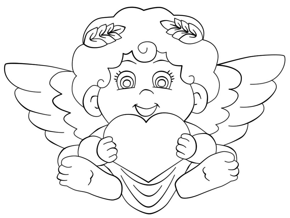 Dibujos para colorear – cupido, para niñas y niños