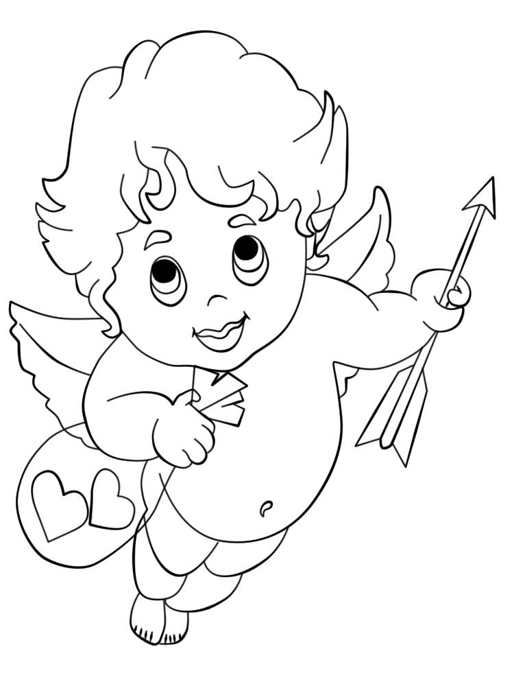 Imprimir dibujos para colorear – cupido, para niños y niñas