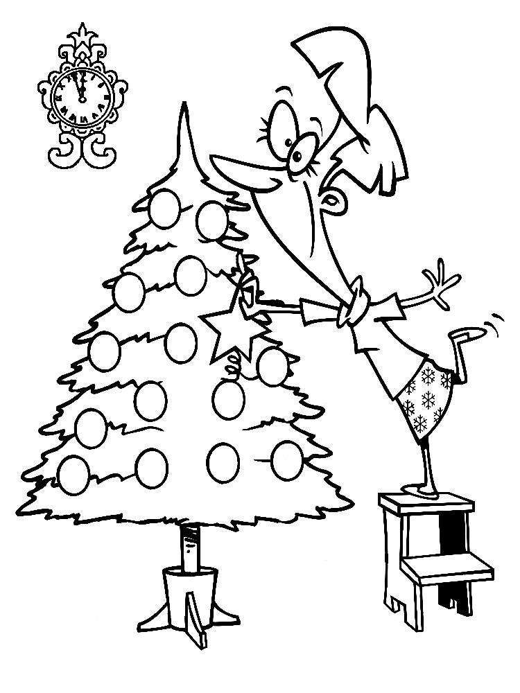 Descargamos dibujos para colorear – arbol de Navidad.
