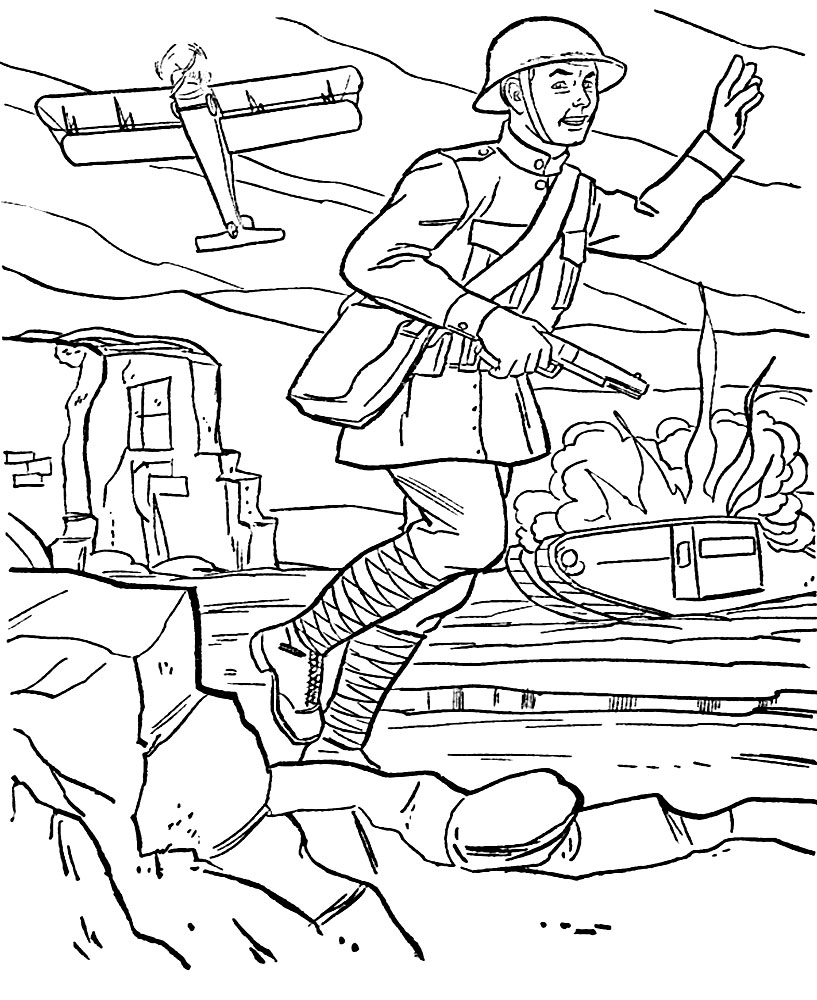 Útiles dibujos para colorear – militar, para chiquitines creativos