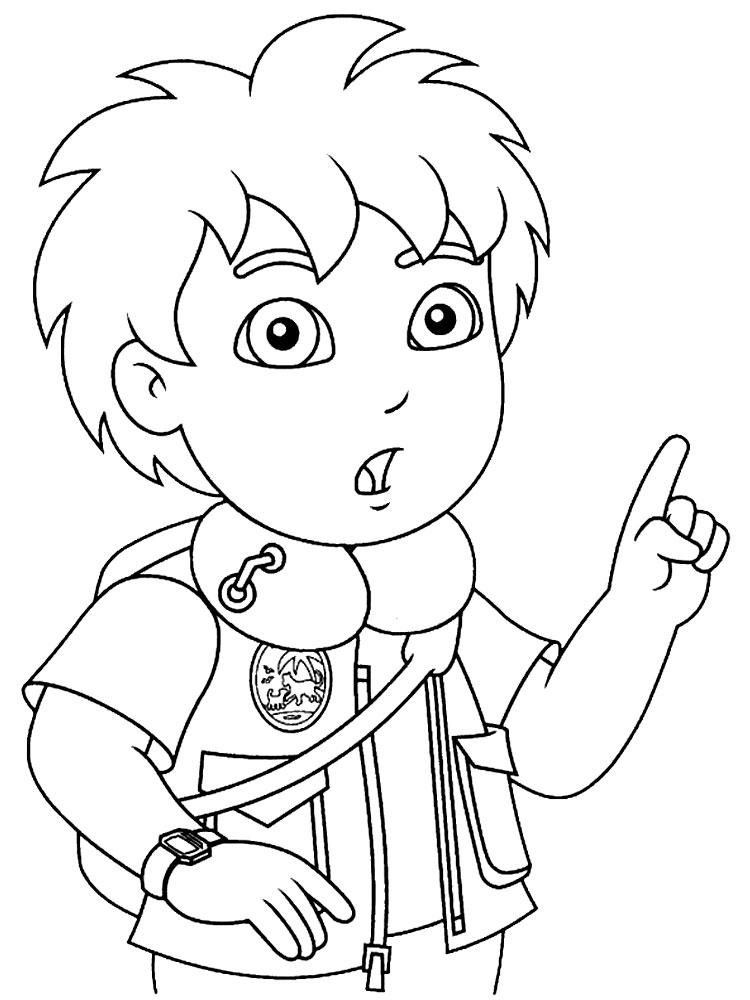 Dibujos para colorear – Go Diego, para niños
