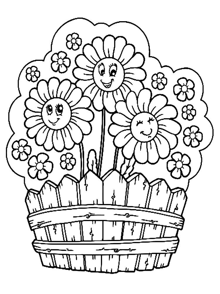 Dibujos para colorear – flores, para desarrollar la generación menor.