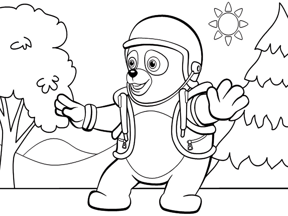 Dibujos para colorear – agente Especial Oso, imprimir gratis