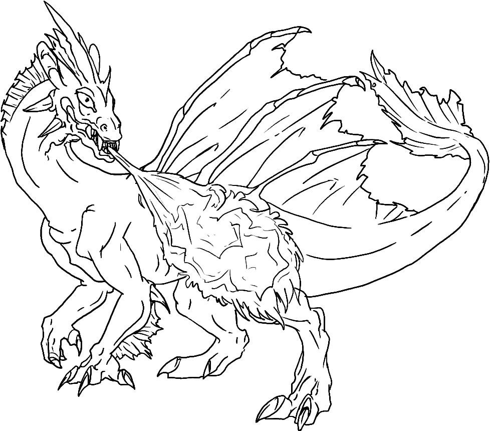 Útiles dibujos para colorear – dragón, para chiquitines creativos