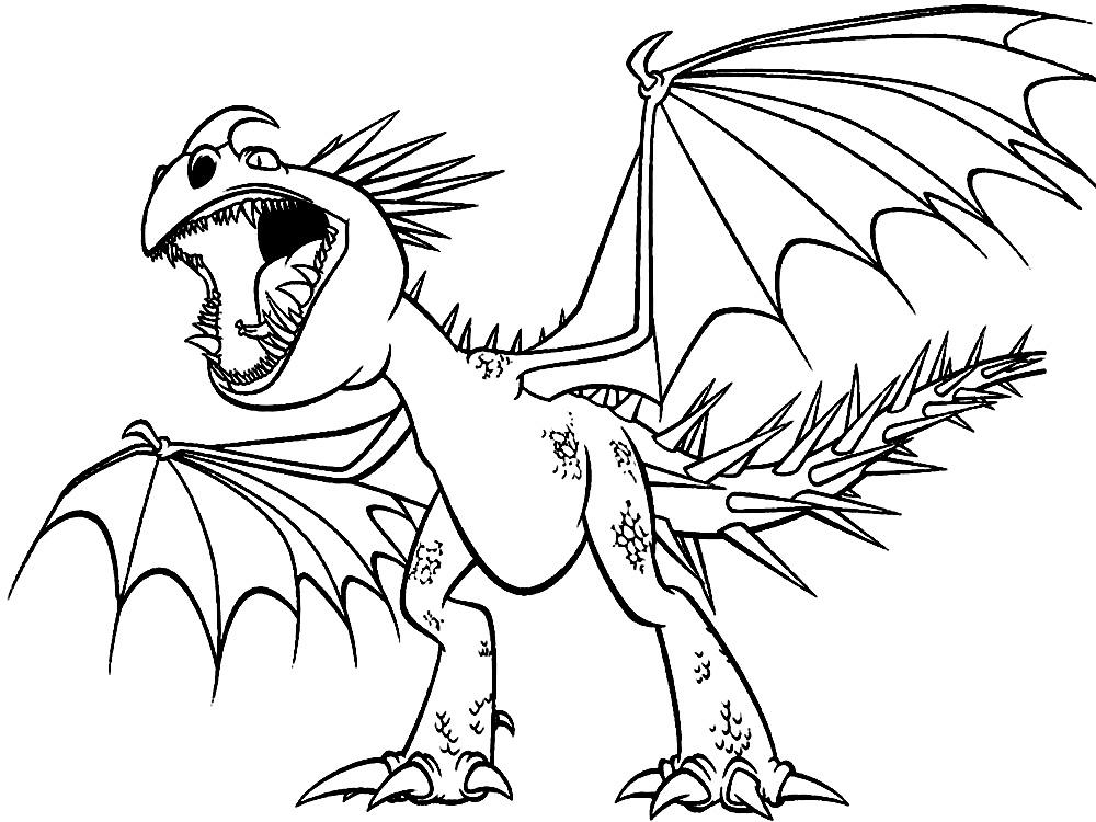 Dibujos animados para colorear – dragón, para niños pequeños.