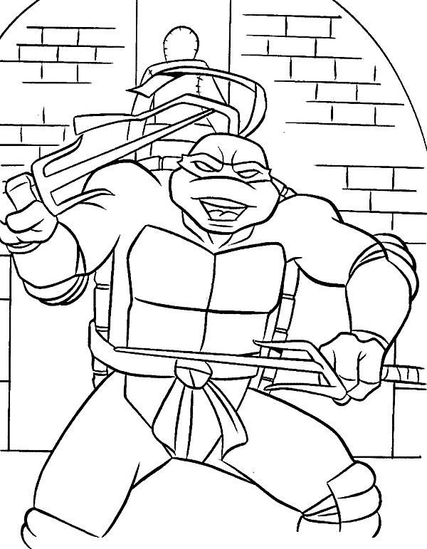 Dibujos animados para colorear – Tortugas Ninja, para niños pequeños.