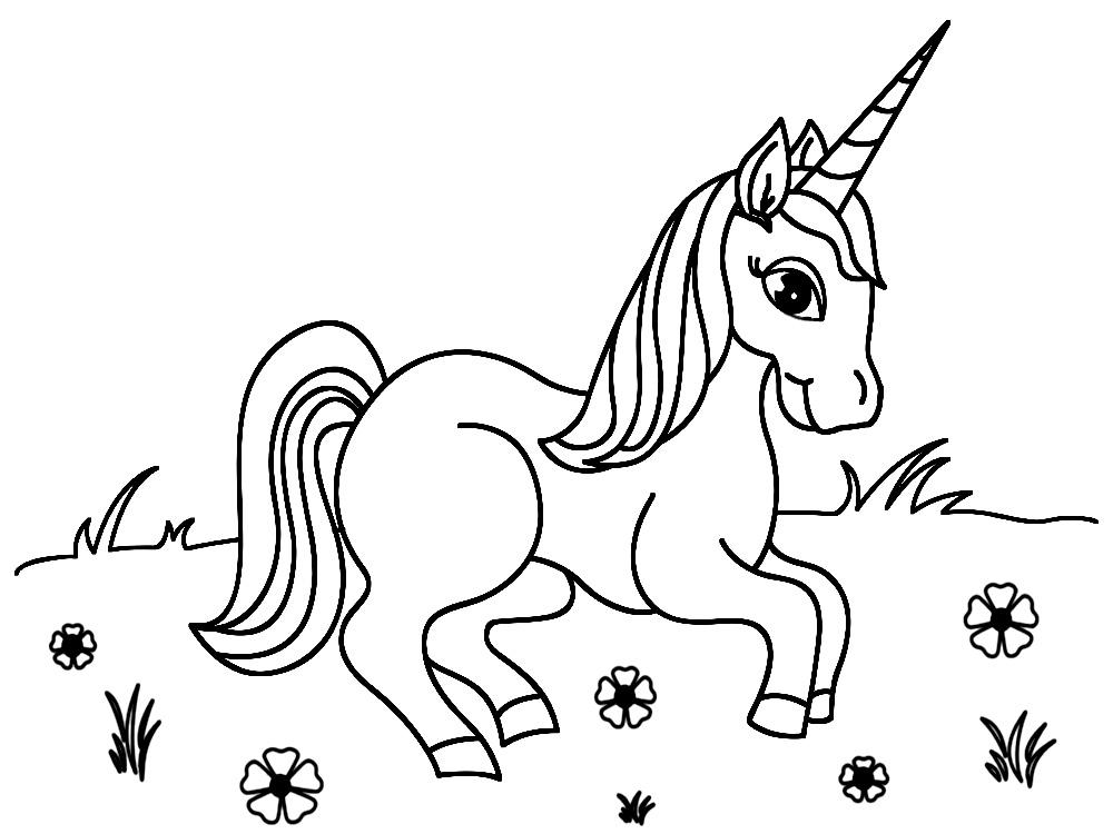 Útiles dibujos para colorear – unicornio, para chiquitines creativos