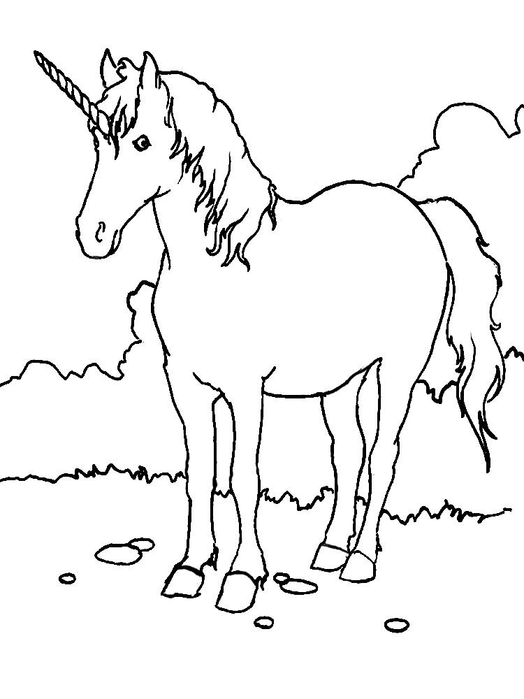 Imprimir dibujos para colorear – unicornio, para niños y niñas