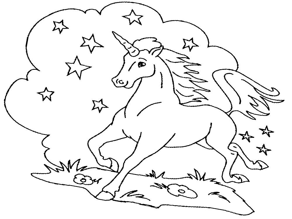 Gratuitos dibujos para colorear – unicornio, descargar e imprimir